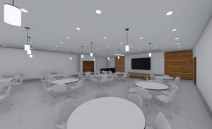 The fellowship hall designed for the Holy Trinity Baptist Church in Brooklyn, New York, will feature a large liquid crystal display (LCD) monitor that will allow for service transmission to guests outside the sanctuary. Photos courtesy Body Lawson Associates