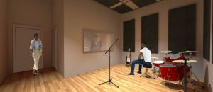 The video production studio designed for the Holy Trinity Baptist Church will double as a music studio, featuring soundproofing panels on the walls and ceiling to help buffer the noise. It alsofeatures a sound engineering booth connected by a glass window.