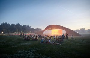 Trahan Architects and Spackman Mossop Michaels reveal designs for the Luther George Park master plan and Performance Pavilion in downtown Springdale, Arkansas. Rendering courtesy Eleven Visualisation/Trahan Architects