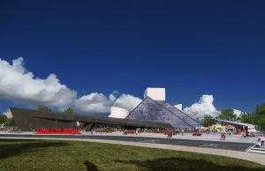 Rock & Roll Hall of Fame has selected Practice for Architecture and Urbanism (PAU) and the James Corner Field Operations team to design the new expansion of the I.M. Pei-designed museum in Cleveland, Ohio. Renderings © PAU