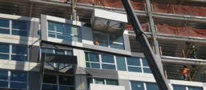 Example of prefabricated panel installation during construction.