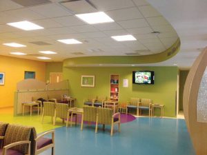 As carpet and other soft surfaces are reduced in the healthcare setting, design strategies can help mitigate noise. Photos courtesy Owens Corning