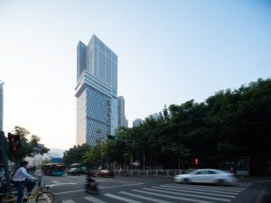 International studio CLOU architects designs the Shenzhen Shuiwan 1979 Life Plaza in Shenzhen, China, as an interlocked stack of smaller boxes relating to the scale and diversity of the city. Photo courtesy Shining Laboratory