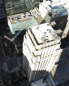 On the historic Rand Tower in Minneapolis, Minnesota, ethylene propylene diene monomer (EPDM) roofing was used to tackle the complex renovations to the building. Photo courtesy Central Roofing Company
