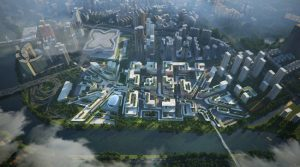 Zaha Hadid Architects is reconstructing the Huanggang Port Area in Shenzhen, China, to become an important node of the Guangzhou-Shenzhen Science and Technology Corridor. Rendering courtesy Atchain