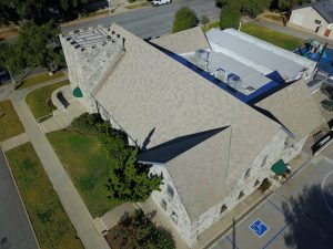 The Cornerstone Bible Church in Glendora, California, gave new life to its roof with diamond-shaped flat shingles. Photo courtesy ATAS International, Inc.
