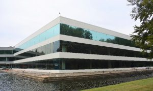 The 1 Rockwood office building in Sleepy Hollow, New York, underwent a complete façade restoration using polyvinylidene fluoride (PVDF) exterior restoration coatings. The restoration project will help the building resist fading and degradation for at least 20 years. Photo courtesy Stuart Dean Company