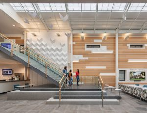 Svigals + Partners designs the Bergami Center for Science, Technology & Innovation at the University of New Haven, West Haven, Connecticut, as a state-of-the-art, technology-enhanced academic building designed to foster collaboration. Photo © Peter Aaron/OTTO.Photo courtesy Svigals + Partners