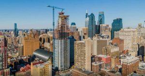 Arthaus, Kohn Pedersen Fox Associates' (KPF's) first residential tower in Philadelphia, Pennsylvania, tops off. Photo courtesy KPF
