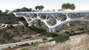 This pedestrian bridge concept by Hunter Ruthrauff of T.Y. Lin International Group was awarded the 2021 Forge Prize by the American Institute of Steel Construction (AISC).