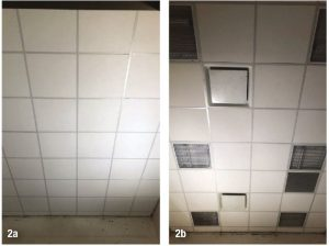 Figure 2: Three types of acoustic ceiling panels were tested without (2a) and with (2b) penetrations for light fixtures, supply air diffusers, and a return air grille.
