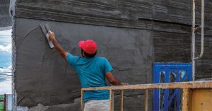 One of the most reliable ways of keeping walls dry is to construct them  with an outer shell, also known as a rainscreen.