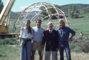 The Harvard Graduate School of Design (Harvard GSD) has created the R. Buckminster Fuller Professorship of Design Science. (Left to right) Amy C. Edmondson, John Katzenberger, Buckminster Fuller, and Thomas Crum (1982). Photo courtesy Amy C. Edmondson