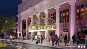Newark Symphony Hall's (New Jersey) five-year, $50-million restoration is underway. The design by Clarke Caton Hintz (CCH) includes a signature marquee and plaza reimagining a city block. Image courtesy CCH