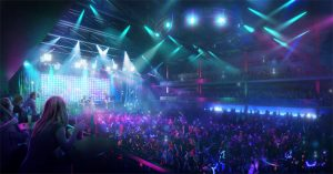 Office for Metropolitan Architecture (OMA) and Live Nation unveils plans for Houston music venue 'the Terminal,' with innovative new viewing experience for artists and fans. Image courtesy Live Nation