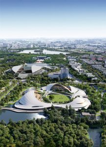 For the Jiaxing Civic Center, Jiaxing, China, MAD Architects designed an artistic entity on an urban scale; where architectural forms and landscapes fuse together. Rendering courtesy MAD Architects