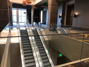 The OMNI Louisville Hotel and Residence, Louisville, Kentucky, utilizes architectural railings to complement its modern, minimalist design. Photo courtesy Trex Commercial Products