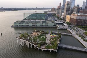 The Heatherwick Studio, MNLA, and Arup-designed Little Island opens in New York City, unlocking 1 ha (2.4 acre) of public park and performance space above the Hudson River. Photo courtesy Heatherwick Studio