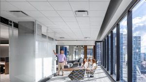 Anthem Technology Center, Atlanta, Georgia, finetunes its office space for wellness and collaboration with acoustic ceilings. Photo © Brandon Stengel, Farm Kid Studios. Photo courtesy Rockfon
