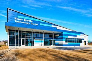 The Elmer Buchta Entrepreneurship & Technology Center (EBETC), Pike County, Indiana, welcomes visitors with a colorful metal façade. Photo © Chisum Multimedia. Photo courtesy John W. McDougall Company/Linetec