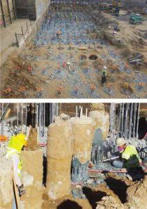 Figure 8: Auger-cast piles for a mat foundation chipped down as excavation progresses.