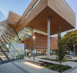 Glazing, metals, and wood help the Karl Miller Center, a renovation and major addition at Portland State University, create a new identity for its business program. Photo courtesy Brad Feinknopf/Janis Rozkalns