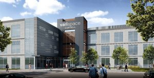 Vari and Adolfson & Peterson construction break ground on Varispace Coppell, the company's new global headquarters in Texas. Rendering courtesy BOKA Powell