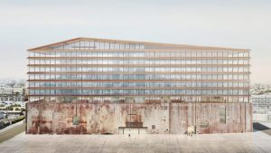 Vertical construction begins on a decommissioned power plant building which aims to reconnect the neighborhood to the San Francisco Bay. The project is designed by Herzog & de Meuron. Image © Herzog & de Meuron