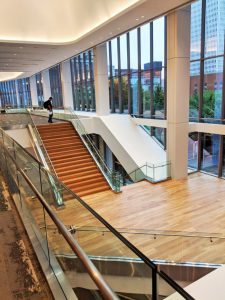 Track rail glass products were used at the Kentucky Convention Center (Louisville) to line the grand staircase, large stair landing, ramps, and overlooks, allowing natural light from the updated glass façade to flow through the multiple levels of the facility. Photo courtesy Trex Commercial Products