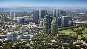 Foster + Partners and RIOS designs One Beverly Hills, California, as an environmentally sustainable, mixed-use urban resort built around botanical gardens. Rendering courtesy One Beverly Hills