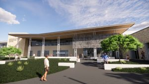 Adolfson & Peterson Construction and the City of Allen, Texas, break ground on the Stephen G. Terrell Recreation Center. Rendering courtesy Barker Rinker Seacat Architecture