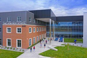 Cushing Terrell designed the new Gallatin High School in Bozeman, Montana, around the concept of a town center. Photo © Karl Neumann