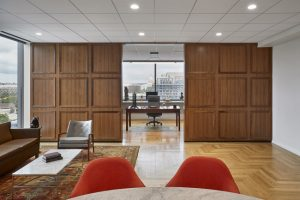 Hickok Cole Architects used acoustic ceiling systems to meet the sustainability and aesthetic goals of the National Association of Broadcasters' headquarters in Washington, D.C. Photo © Garett Rowland. Photo courtesy Hickock Cole Architects/Rockfon