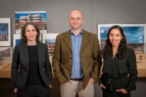 Stephanie Oestreich, AIA, CCCA, LEED AP, Nelya Sachakova, AIA, Certified Passive House Designer, and Milan Savanovic (left to right) were promoted to associate at RKTB Architects. Photo courtesy RKTB